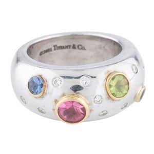 Diamond and multi stone Tiffany Etoile band